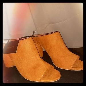Forever21 Open Toe Cognac Mules heeled